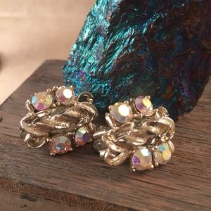 Aurora Borealis Clip On Earrings Vintage